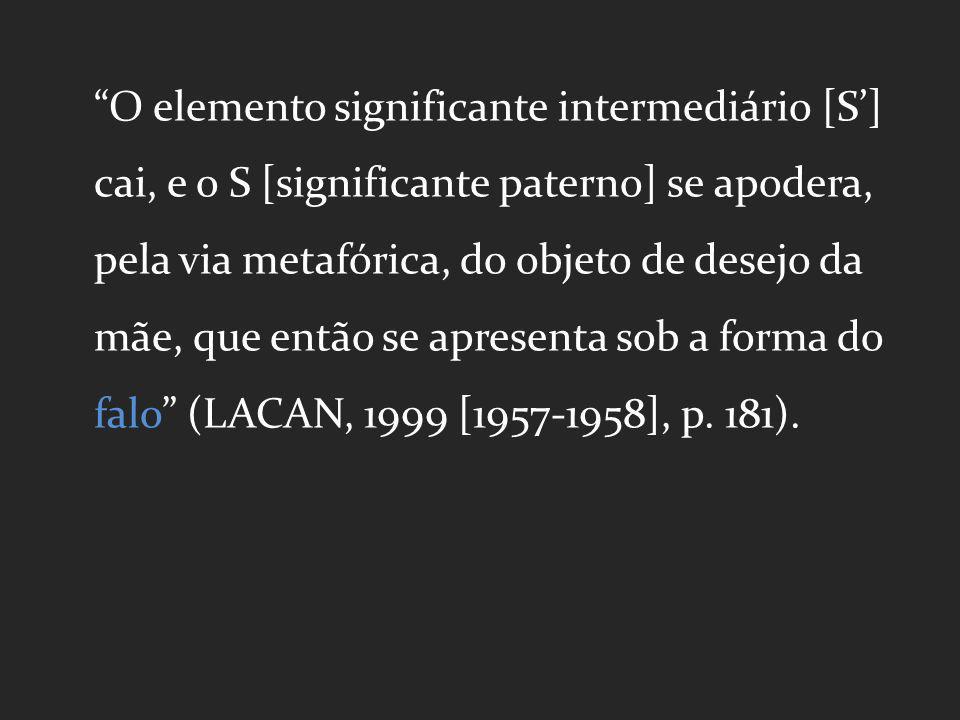 O elemento significante intermediário [S'] cai, e o S [significante paterno] se apodera, pela via metafórica, do objeto de desejo da mãe, que então se apresenta sob a forma do falo (LACAN, 1999 [1957-1958], p.